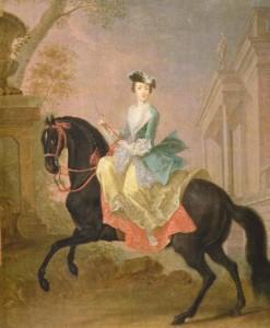 Георг Христофер Гроот. Портрет великой княгини Екатерины Алексеевны на коне. 1744. Холст, масло. 60,5х50,5