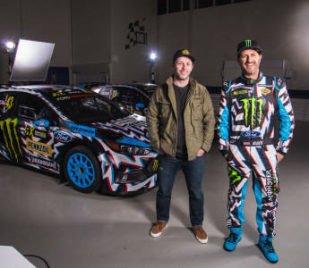 With the World RX race season opener this coming weekend in Barcelona, Spain, Hoonigan Racing debuts its newest liveries for the team of Ken Block and Andreas Bakkerud and their Ford Performance Focus RS RX rallycross cars, designed in collaboration with U.K. artist David Gwyther