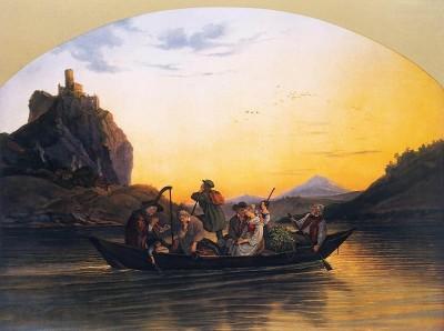 Переправа по Эльбе мимо скалы Шрекенштайн, 1837
