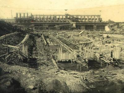 Строительство Угличской ГЭС  1937 г