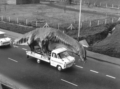 Be mounted by a dinosaur. Model makers in Kent strapped a life-size 49ft-long Cetiosaurus to their Transit to haul it to a natural history park in Edinburgh.